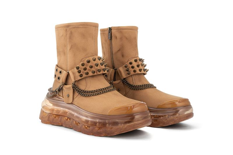 SHOES 53045 EASY RID'AIR Boot Release Information First Look Footwear Chunky Sole Air Bubble Unit David Tourniaire-Beauciel Western Themes Americana Chains Buckles Brown Suede Eco Friendly Conscious Faux Spikes Studs