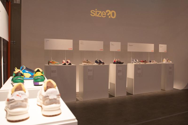 size? 20th anniversary exhibition installation event retail footwear sneakers community london nike adidas dave white henry poole new balance