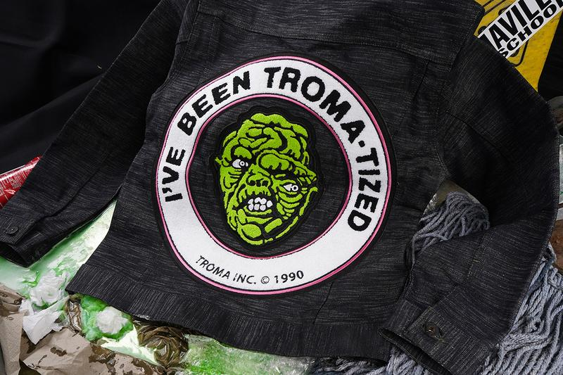 'The Toxic Avenger' x Naked & Famous Denim Capsule Collection Release Information First Look Comic Book Series '80s B-Movie Cult Classic Embroidered Jacket Jeans Twill Neon Green Stripes Screenprinting Logos Cartoon