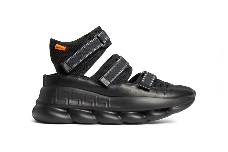 Versace Chain Reaction Sandals Release Info drop date price Chain-linked sole Greca outsole Braille lettering Logo hook and loop straps made in italy DSU8006-D24TG_D41 where to cop