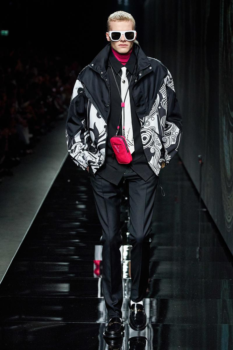 Versace Fall/Winter 2020 Milan Fashion Week Co-Ed Show Runway Donatella Versace Shots Looks Menswear Womenswear House Symbols Greek Key Pattern Tailoring Sportswear