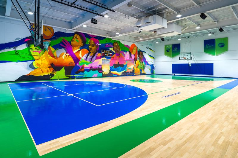 virgil abloh nike boys and girls club chicago basketball court facility redesign revamp mural garfield park