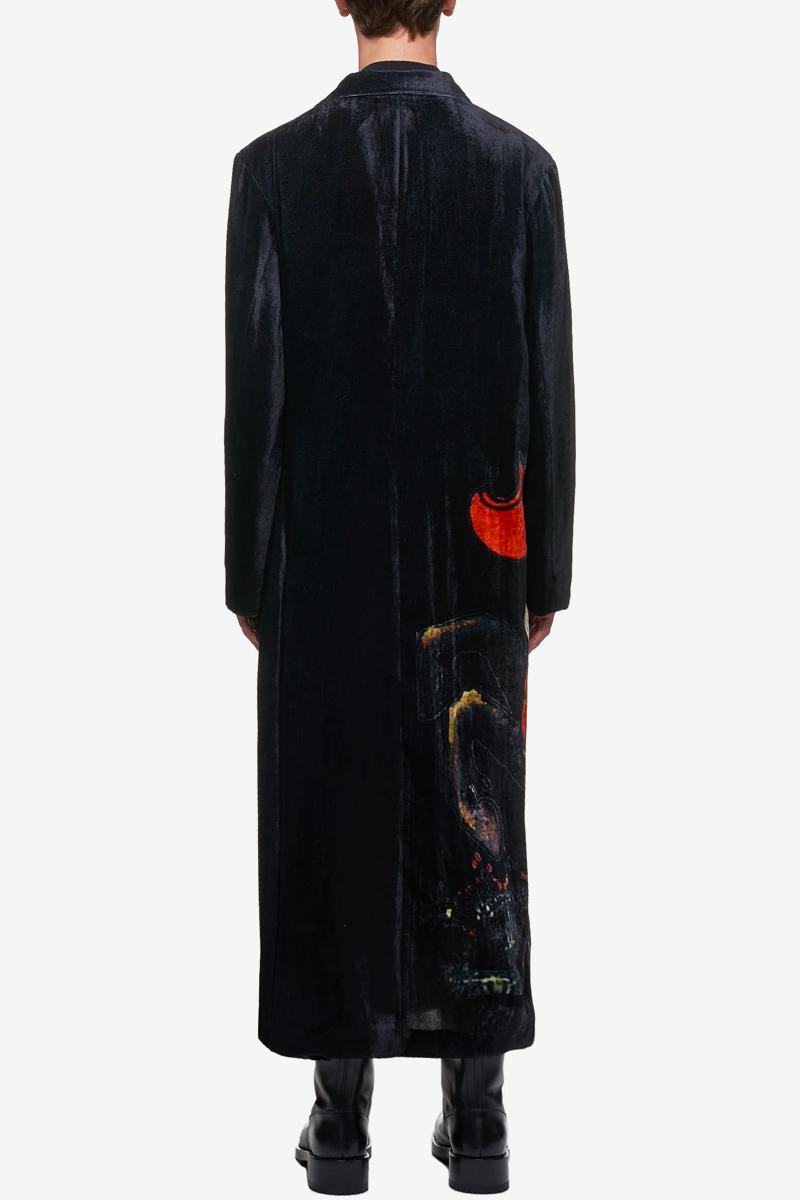 Yohji Yamamoto Oversized Velour Coat Spring summer 2020 collection HN D13 206 BLACK menswear streetwear japanese designer fashion artwork y3 coats jackets tops outerwear