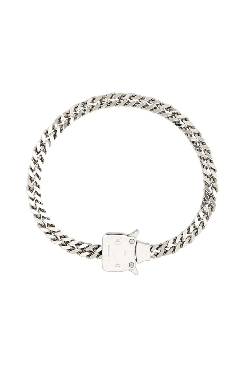1017 ALYX 9SM Drops Silver Tone Cubix Chain Necklace rollercoaster buckle buy now drop info release accessories jewelry drake chain