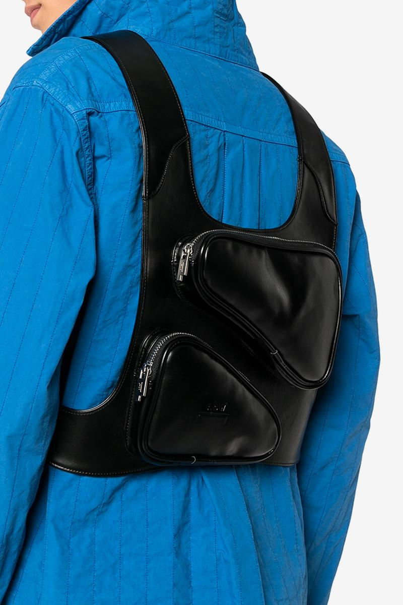 A COLD WALL Black Leather Harness Bag accessories menswear streetwear nylon spring summer  brutalist 2020 collection samuel ross designer geometric functional technical