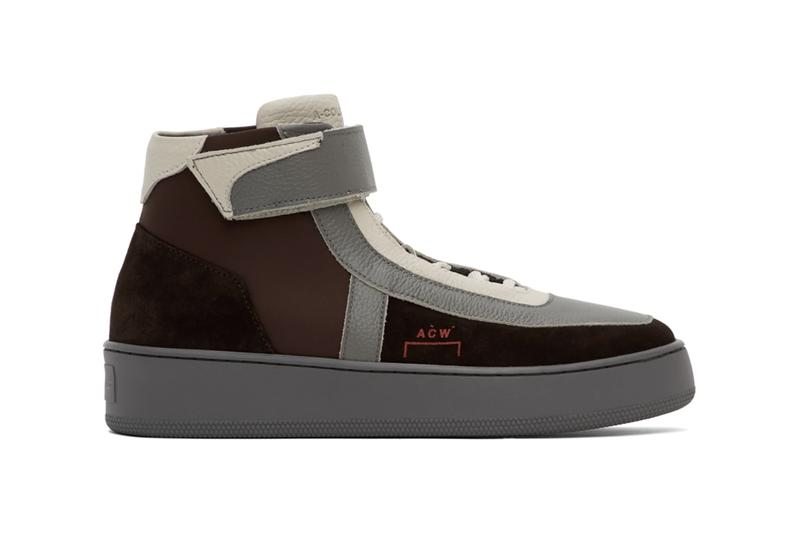 """A-COLD-WALL* Corbusier Hi """"Brown/Grey"""" Leather High Top Sneakers Release Information Drop Date SSENSE Samuel Ross Architectural London Menswear Brand New Direction French-Swiss architect Le Corbusier Bracket Branding"""