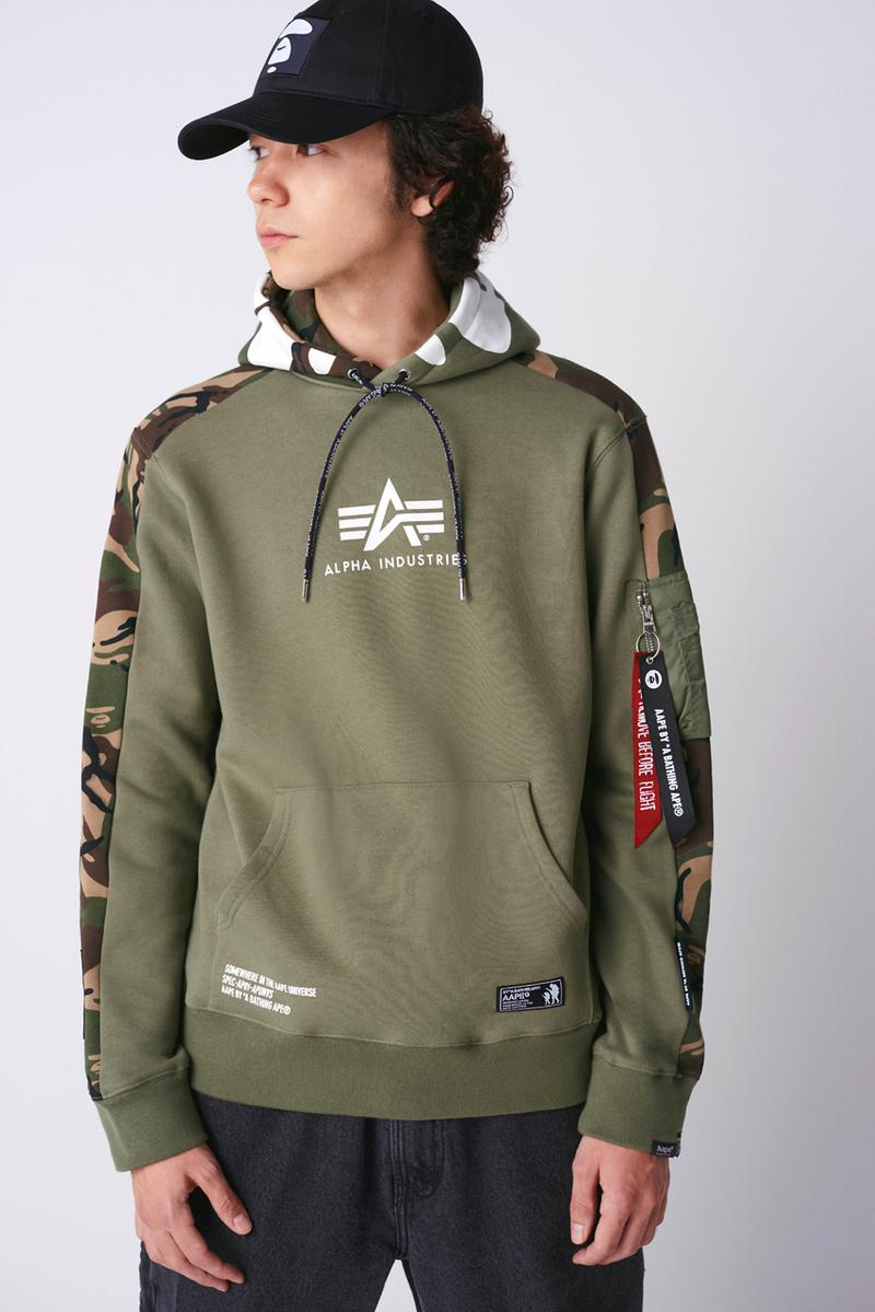 AAPE x Alpha Industries Spring/Summer 2020 Collaboration collection ss20 jacket hoodie apparel
