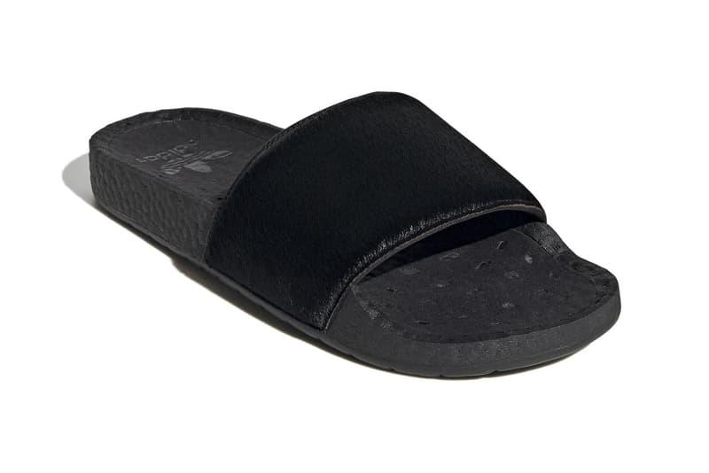 adidas originals adilette core black pony hair snakeskin details release information buy cop purchase FV6423 FV6422 summer sandal slide footwear pool