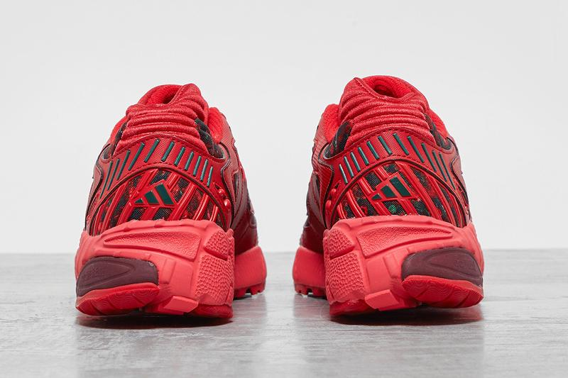 "adidas Originals Torsion TRDC ""Scarlet/Collegiate Burgundy"" Satin Patent Leather Bright Red Floral Print Pattern Three Stripes Tech Shoe Footwear Sneaker Drop Release Information Footpatrol London"