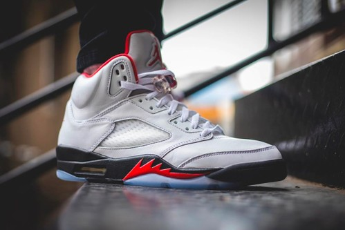 """On-Foot Look at the Air Jordan 5 Retro """"Fire Red"""""""