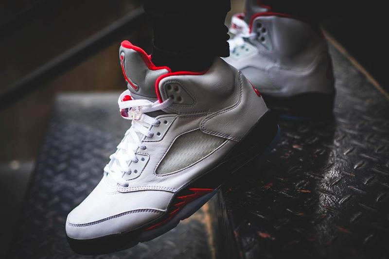 Air Jordan 5 Fire Red Retro Release On Foot Look Images DA1911-102 30th anniversary