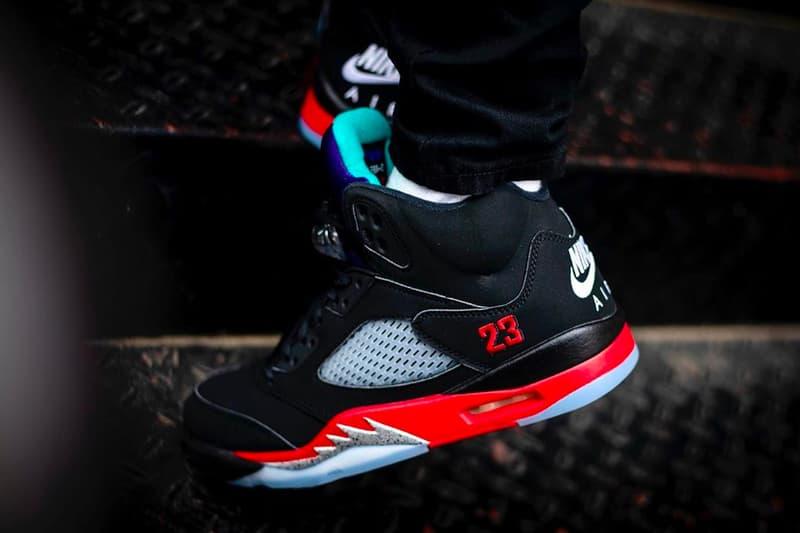 Air Jordan 5 Top 3 On-Foot Look CZ1786-001 Release Info Date Buy Price Black Fire Red Grape Ice New Emerald Metallic
