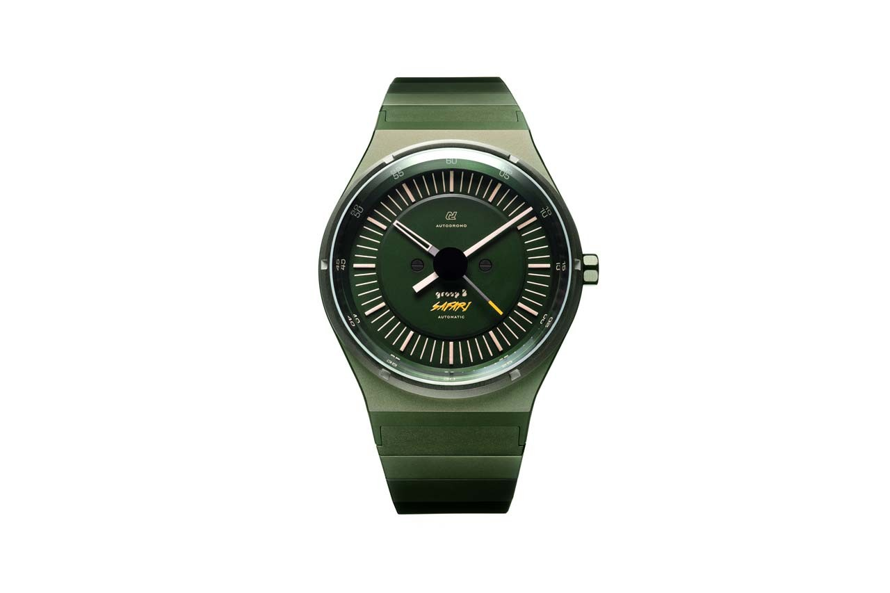 Autodromo Group B Series 2 Safari Dark Green Watch release spring 2020 orange dial lume indexes bi metallic