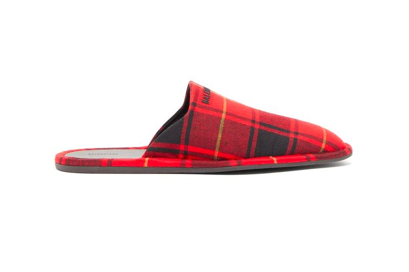 Balenciaga Logo-Embroidered Tartan Flannel Slippers Release Info Buy Price
