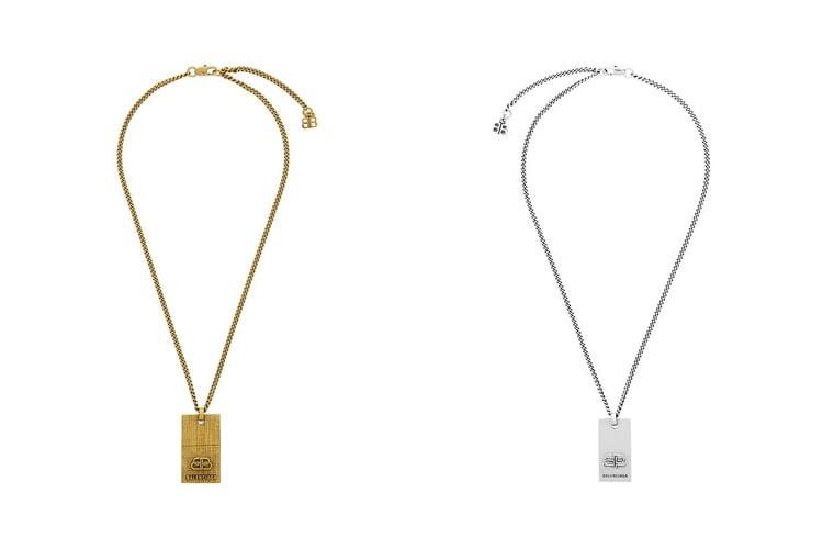 "Balenciaga Releases ""BB"" Dog Tag Necklaces in Gold & Silver"