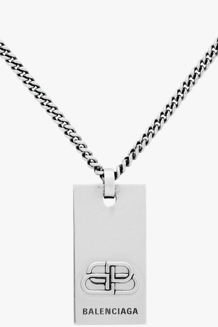Balenciaga BB Necklace Gold Silver Demna Gvasalia New Season Jewelry Dog Tag SSENSE Curb Chain Link Antiqued Made in Italy Brass 201342M145167 201342M145168