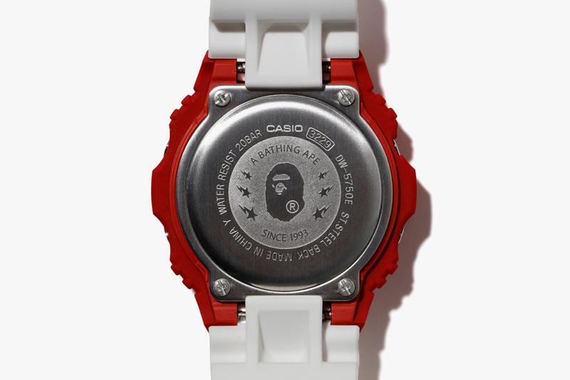 BAPE x Casio G-SHOCK 5750 Watch Collaboration spring summer 2020 ss20 bapesta 20th anniversary timepiece release date info buy march 21