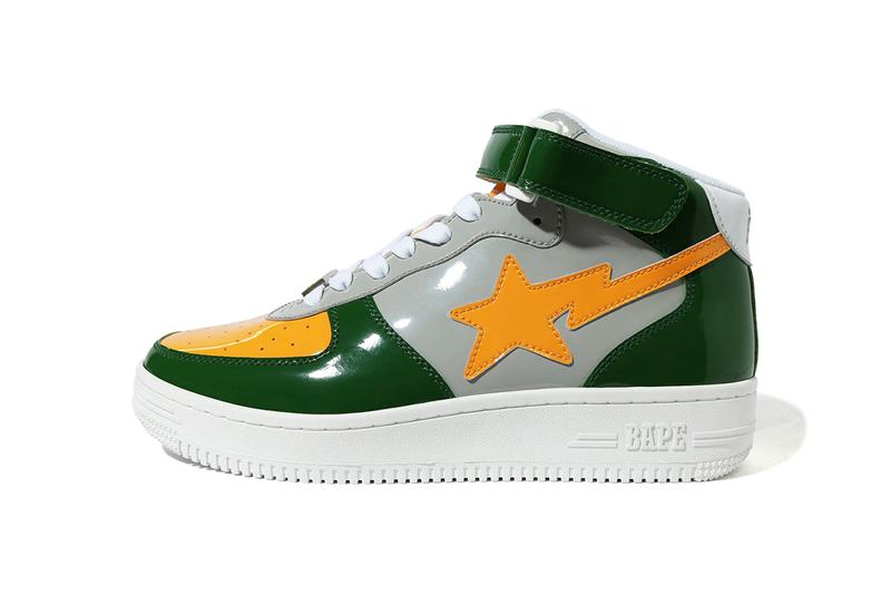 BAPE BAPESTA Mid, Low OG Colorway Release Date sneakers drop buy patent leather 3m reflective accent logo