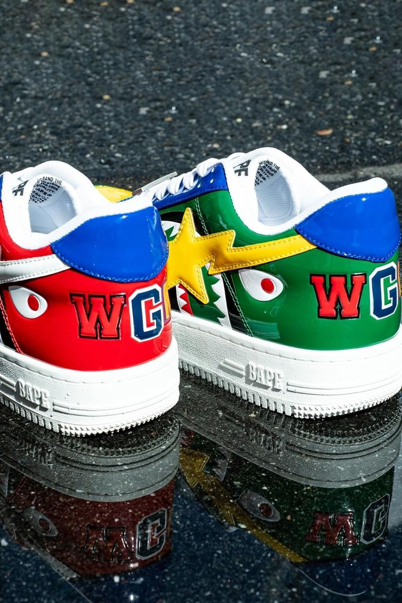shark bape sta a bathing ape patent leather blue yellow green red white pink release date info photos price