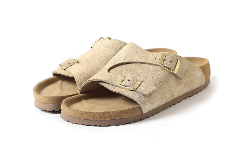 BEAMS Birkenstock Zurich Taupe gray menswear streetwear spring summer 2020 collection collaboration capsule footwear sandals suede nubuck slides slippers shoe japanese