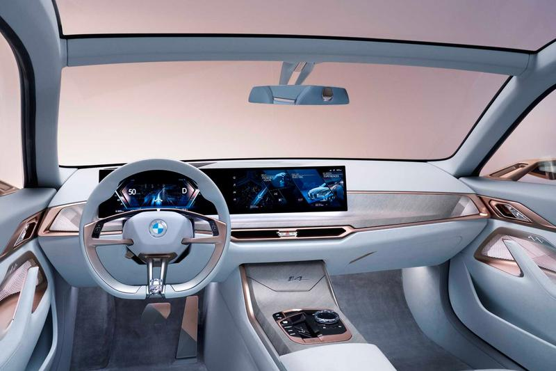 BMW Unveils i4 Concept Car With Redesigned Logo electric vehicle EV 2021 inext specs powertrain