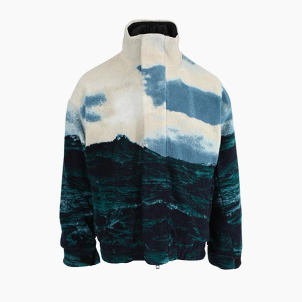 Burberry Sea Landscape Print Fleece Jacket