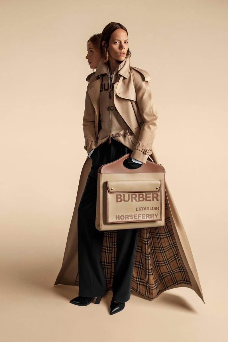 burberry spring summer 2020 ss20 past future codes cues beige evolution bella gigi hadid kendall jenner riccardo tisci
