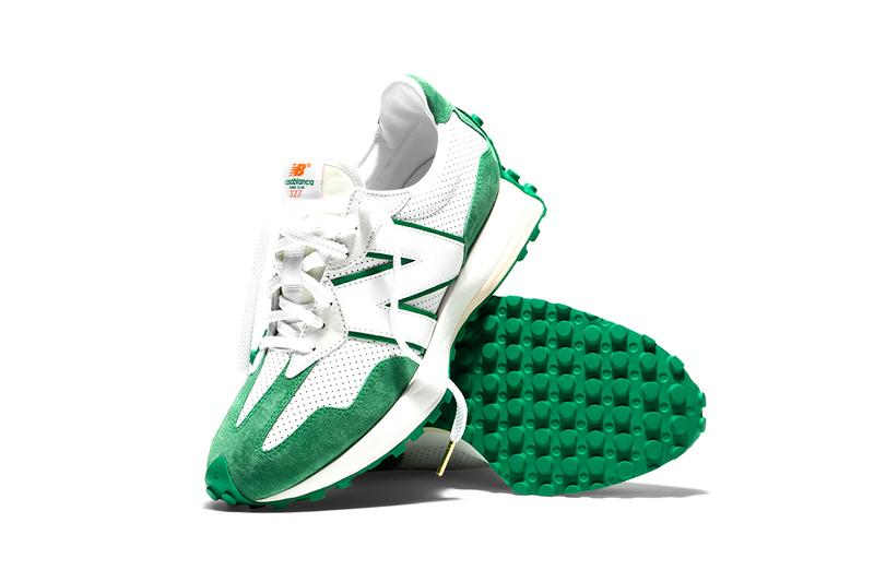 casablanca new balance release information buy cop purchase 327 white orange green details charaf tajer leather suede
