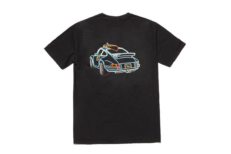 "Chacha The Wave ""Road Trip"" Collection Jan Hrnjak Outlined Mind Hoodies T-Shirts Artwork California Porsche Surfing Waves Palm Trees Ocean Sun Black White Beige"