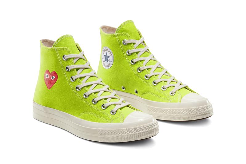 comme des garcons play converse chuck taylor 70 high low bright green blue pink heart release date info photos price collaboration sneaker spring 2020 dover street market april 2