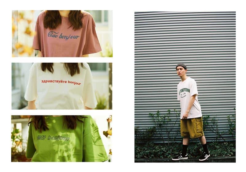 Conichiwa Bonjour Spring/Summer 2020 Collection Lookbook Sweatshirts American Ivy League Lettering Japanese Katakana T-shirts Baseball Caps Tote Bag Evian