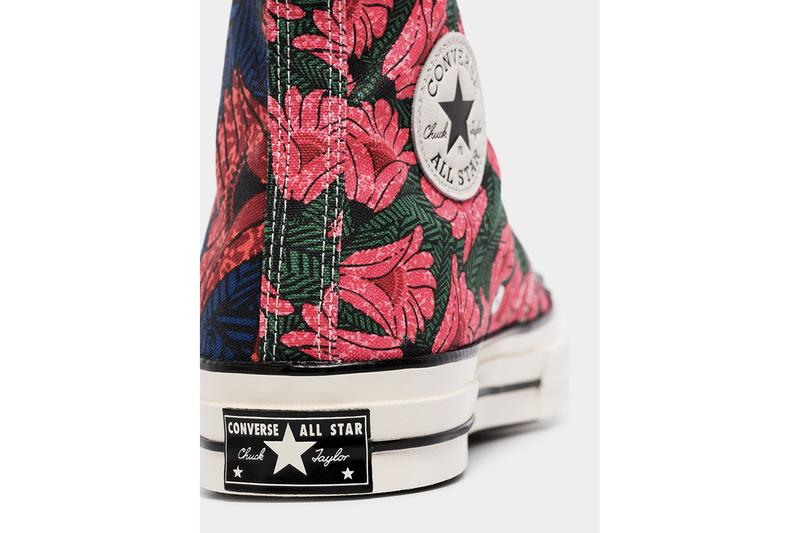 "Converse Chuck 70 ""Floral Blue"" Canvas High Tops Sneakers Release Information Chuck Taylor All Star Hawaiian Print All Over Design Drop Browns Leather Rubber Sidewall"