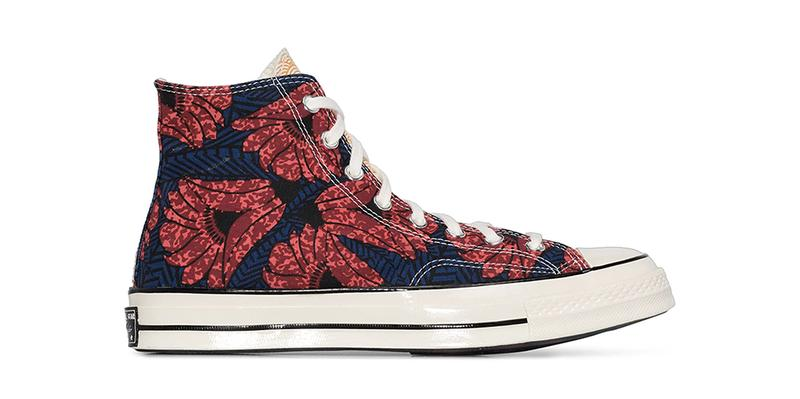 """Converse Chuck 70 """"Floral Blue"""" Canvas High Tops Sneakers Release Information Chuck Taylor All Star Hawaiian Print All Over Design Drop Browns Leather Rubber Sidewall"""