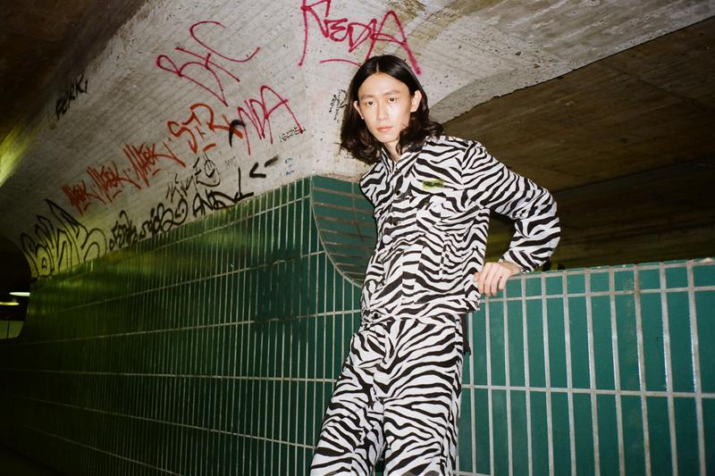 Daily Paper Spring/Summer 2020 Editorial Berlin Zebra Jackets Yellow Tapevest Pants Peach Sweater Crocodile Faux Leather Green Blazer Trousers
