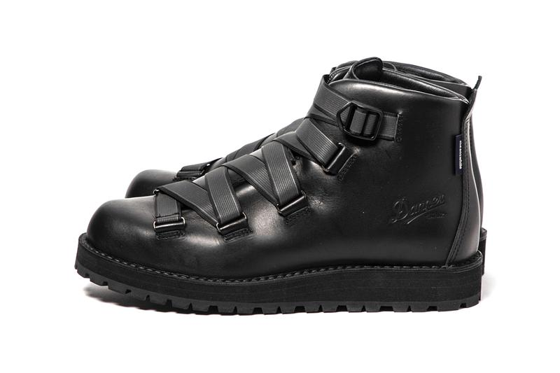 MEANSWHILE x Danner Mountain Light Boot Capsule collection reflective weaving tape fastening system navy suede brown black leather price details