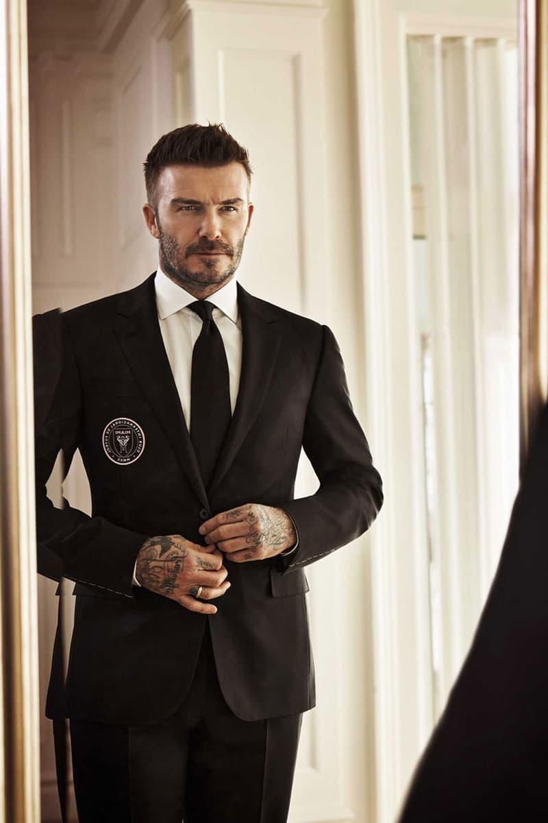 David Beckham in Ralph Lauren for Inter Miami cf purple label suit custom bespoke tailoring football soccer club