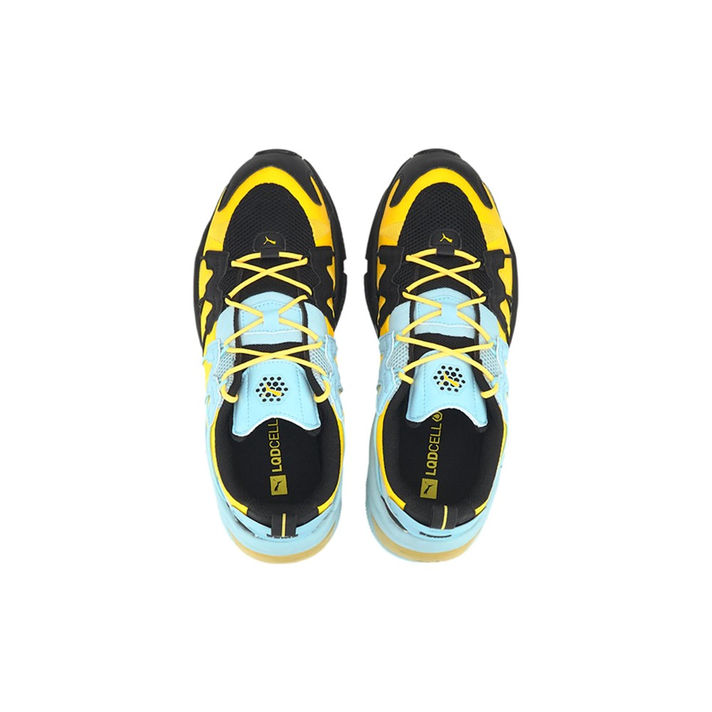 """PUMA LQD CELL OMEGA Striped Knit """"Black/Ultra Yellow"""" Release 2020 Where to Buy"""