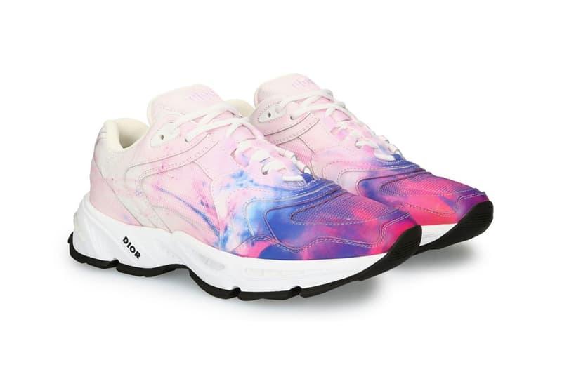 dior cd1 tie dye print sneaker in calfskin and mesh spring summer 2020 ss20 daniel arsham inspiration pink blue colorway