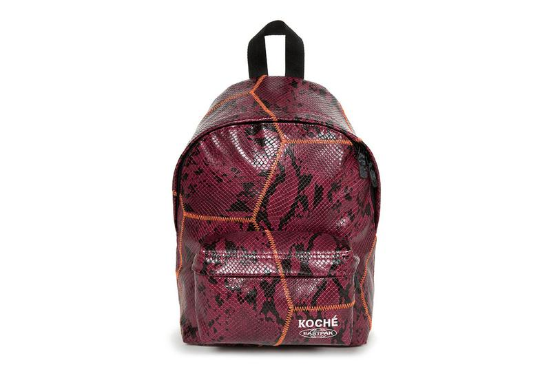 KOCHÉ Eastpak Bag Capsule Collection Padded Pak'r Kerr Tote Bag Fanny Pack Snakeskin Soccer Ball Contrasting Stitching Black Burgundy Red Blue