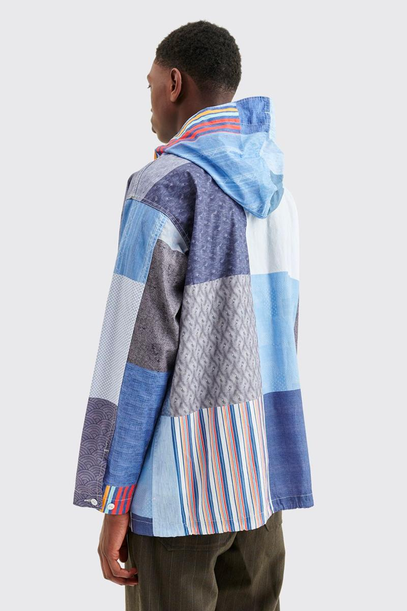 Engineered Garments Random Cagoule Patchwork Shirt Blue spring summer 2020 High collar hood
