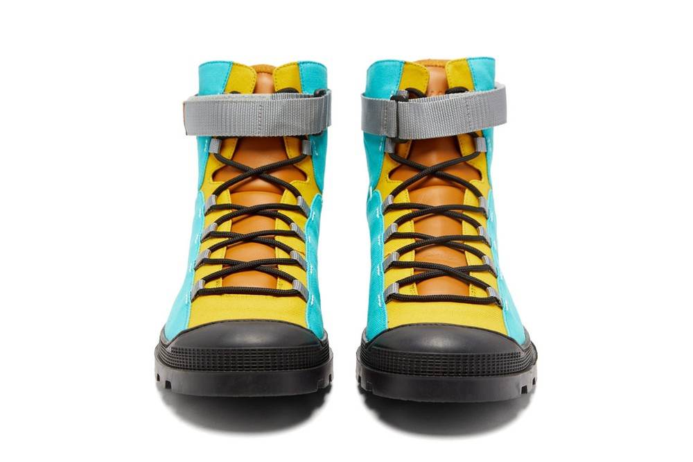 eye loewe nature leather and canvas paneled hiking boots in blue red turquoise yellow colorway spring summer 2020 lookbook velcro ankle strap rubberized toe cap thick treaded soles