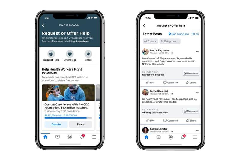 Facebook Coronavirus Community Help Hub Quarantine Help apps social media community helping sharing