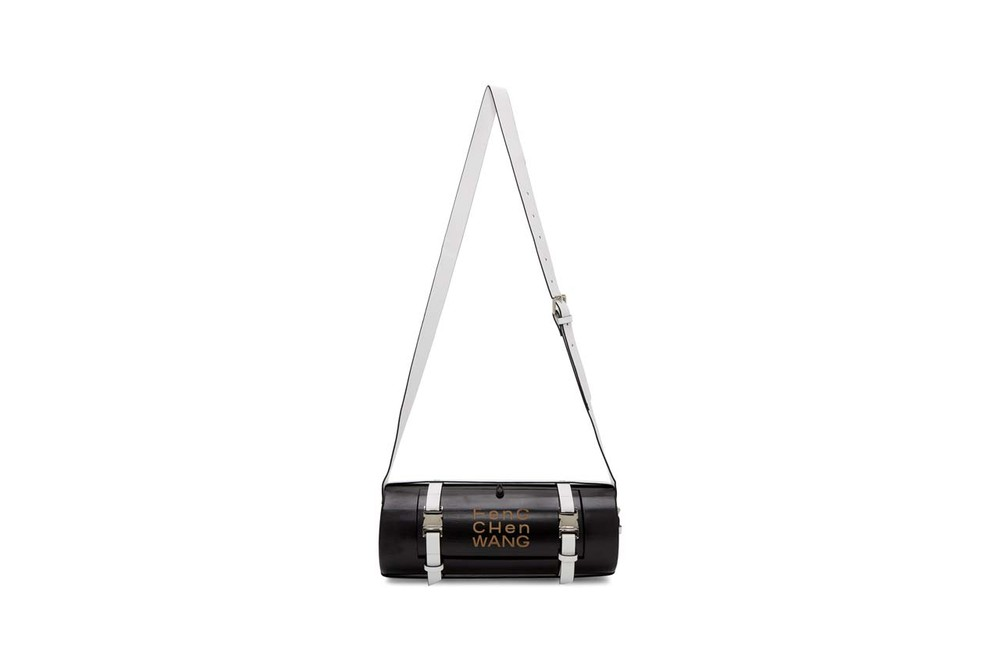 feng chen wang black bamboo bag white leather strap structured shape