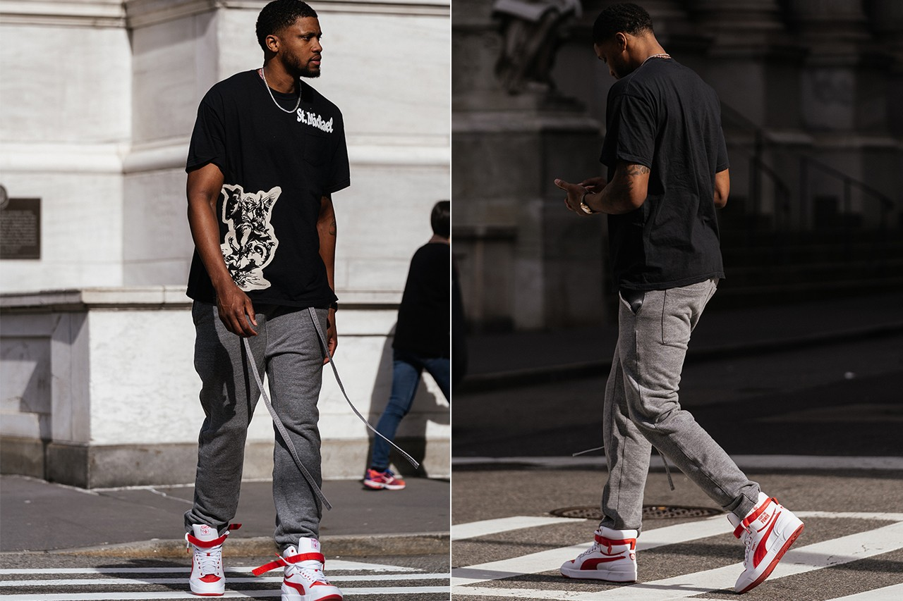 rudy gay style fashion clothing nba basketball player san antonio spurs fear of god sweatpants merch line puma sneakers shoes public enemy collaboration patek watch fight the power new york city madison square park