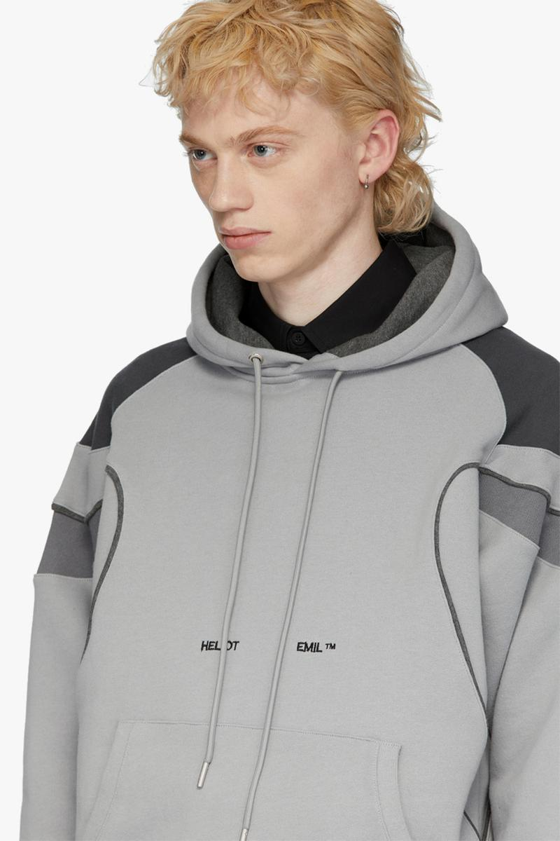 HELIOT EMIL Drops Grey Panel Hoodie  sweatshirts hood terry cotton embroidery logo colorblocking release info drop price details