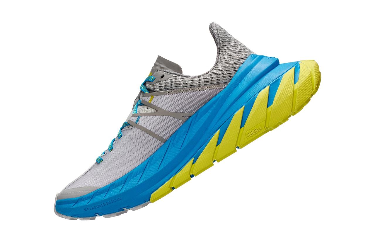 hoka one one tennine trail running shoe downhill grey blue yellow release date info photos price drizzle lunar rock