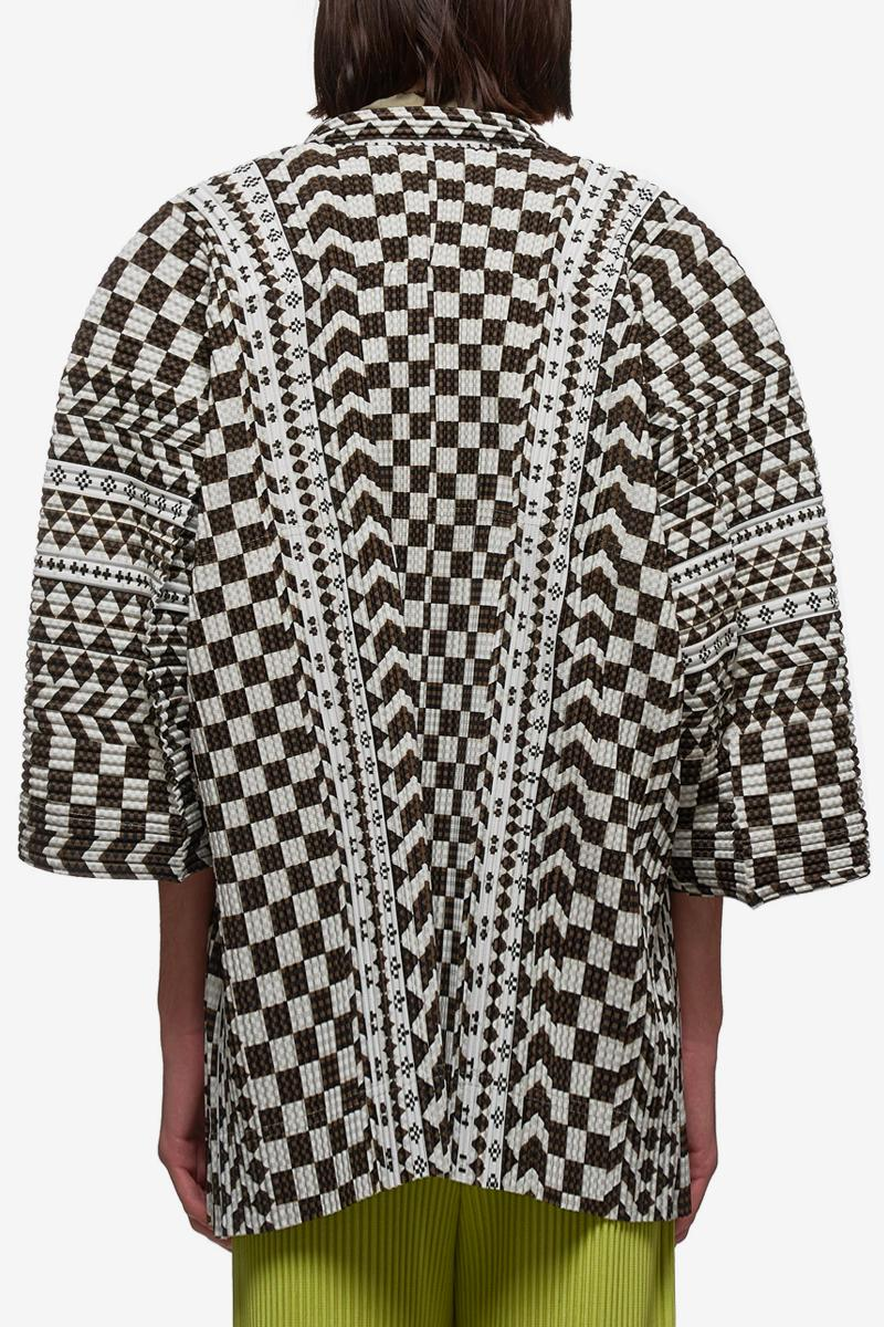 HOMME PLISSÉ Issey Miyake Pleated Double Breasted Shawl HP06JL250 BROWJ WHITE spring summer 2020 collection menswear streetwear japanese fashion designer pleated