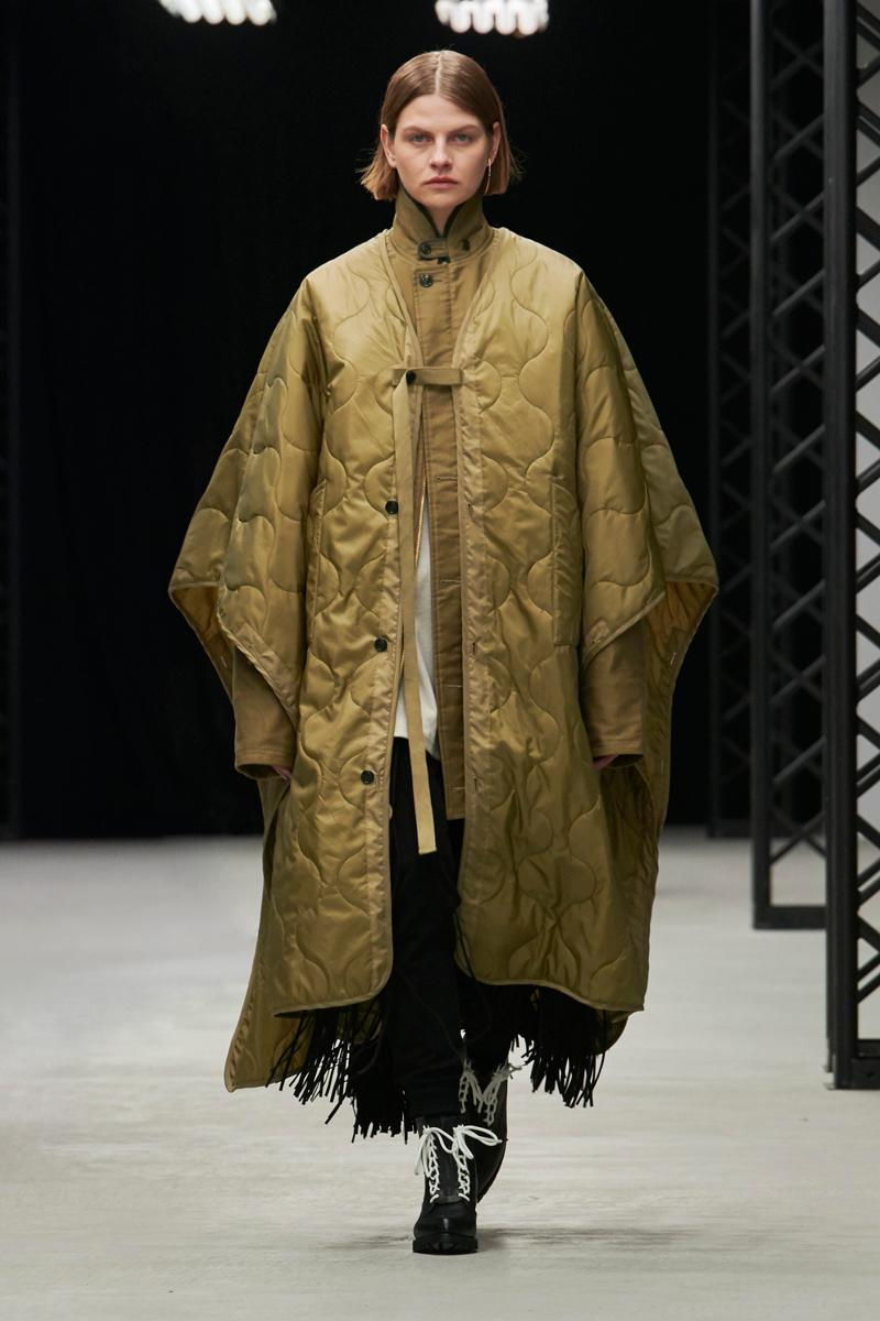 HYKE Fall/Winter 2020 Runway Collection adidas collaboration military coats jackets skirts speckled knitwear bags ponchos brown green black white