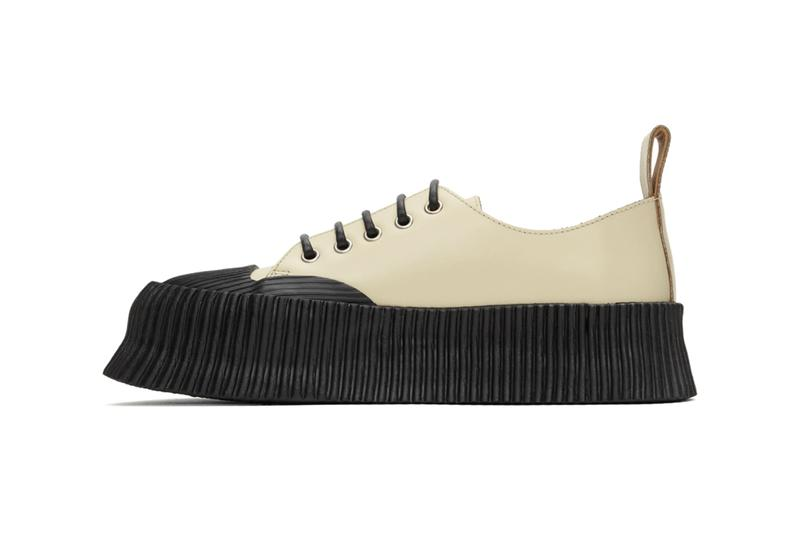 Jil Sander Black Vulcanized Rubber Sole Sneakers 201249M237032 Beige Colorway 201249M237033 Lucie Luke Meier Spring/Summer 2020 SS20 Footwear Sneaker Release Information Drop Date Closer Look SSENSE Cop Buy Online High End Sartorial Calfskin Leather Crepe Rubber Outsole Platform 2 Inches