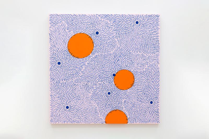 """Julia Chiang The Journal Gallery """"Tennis Elbow"""" Weekly Solo Exhibition Opening Paintings Petals Acrylic Wood Panels"""